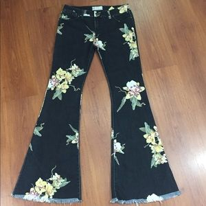 FREE PEOPLE Floral Bell Bottom Jeans